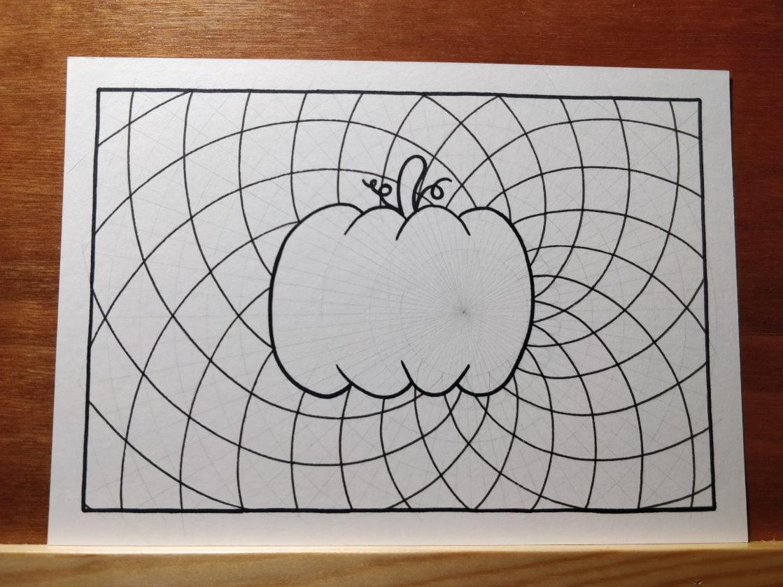 Étape 3 : encrage du cadre et début du dessin du mandala directement au fineliner