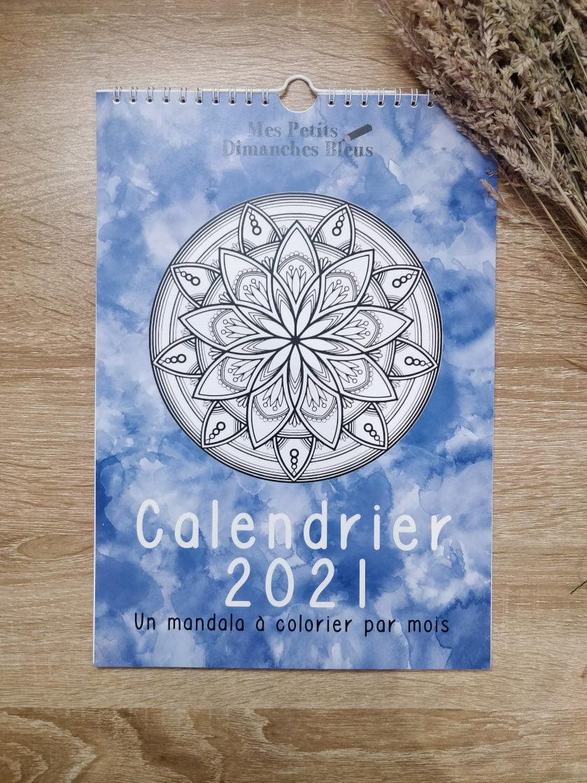 Calendrier 2021 avec mandala à colorier (photo de la couverture)